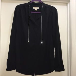 Black Blouse with Silver Bolo detail
